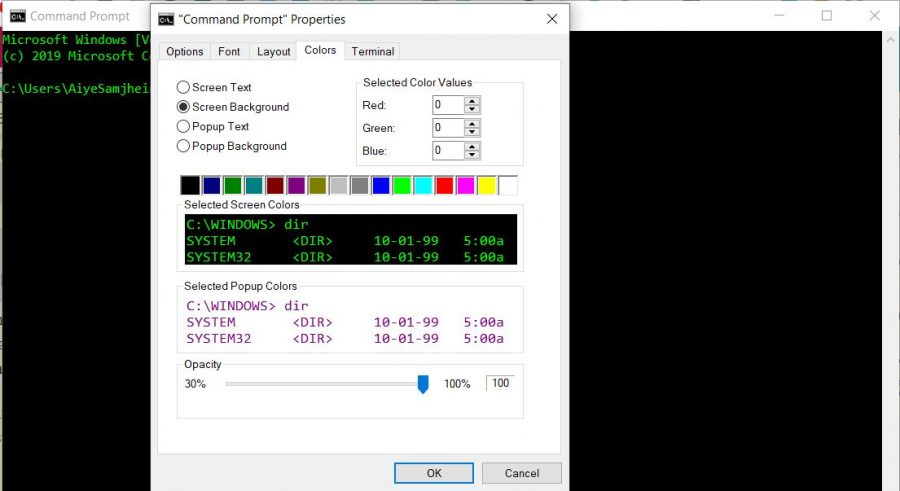 change the opacity of the command prompt window